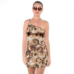 Pattern Factory 23 Brown One Soulder Bodycon Dress