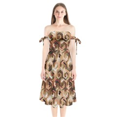 Pattern Factory 23 Brown Shoulder Tie Bardot Midi Dress