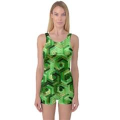 Pattern Factory 23 Green One Piece Boyleg Swimsuit