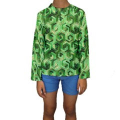 Pattern Factory 23 Green Kids  Long Sleeve Swimwear