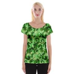 Pattern Factory 23 Green Women s Cap Sleeve Top