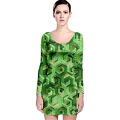 Pattern Factory 23 Green Long Sleeve Velvet Bodycon Dress