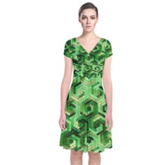 Pattern Factory 23 Green Short Sleeve Front Wrap Dress