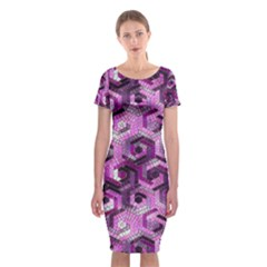 Pattern Factory 23 Pink Classic Short Sleeve Midi Dress