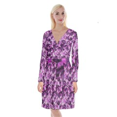 Pattern Factory 23 Pink Long Sleeve Velvet Front Wrap Dress