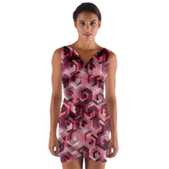 Pattern Factory 23 Red Wrap Front Bodycon Dress
