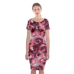 Pattern Factory 23 Red Classic Short Sleeve Midi Dress