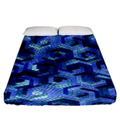 Pattern Factory 23 Blue Fitted Sheet (King Size)