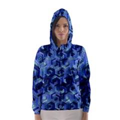 Pattern Factory 23 Blue Hooded Wind Breaker (Women)