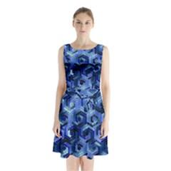 Pattern Factory 23 Blue Sleeveless Waist Tie Chiffon Dress