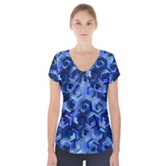 Pattern Factory 23 Blue Short Sleeve Front Detail Top