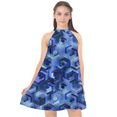Pattern Factory 23 Blue Halter Neckline Chiffon Dress