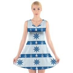 Sea pattern V-Neck Sleeveless Skater Dress