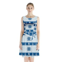 Sea pattern Sleeveless Waist Tie Chiffon Dress