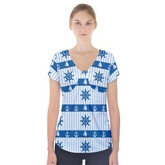 Sea pattern Short Sleeve Front Detail Top