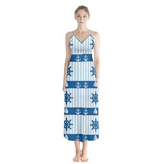 Sea Pattern Chiffon Maxi Dress
