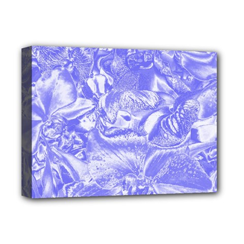 Shimmering Floral Damask,blue Deluxe Canvas 16  x 12