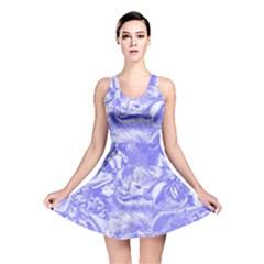 Shimmering Floral Damask,blue Reversible Skater Dress