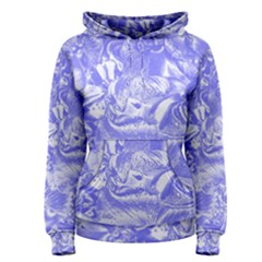 Shimmering Floral Damask,blue Women s Pullover Hoodie
