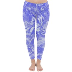Shimmering Floral Damask,blue Classic Winter Leggings