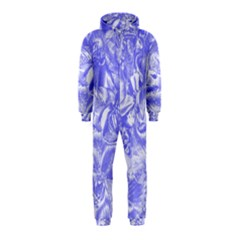 Shimmering Floral Damask,blue Hooded Jumpsuit (Kids)