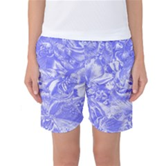 Shimmering Floral Damask,blue Women s Basketball Shorts