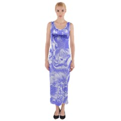 Shimmering Floral Damask,blue Fitted Maxi Dress