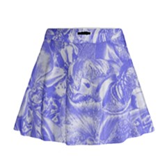Shimmering Floral Damask,blue Mini Flare Skirt