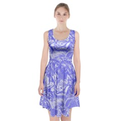 Shimmering Floral Damask,blue Racerback Midi Dress