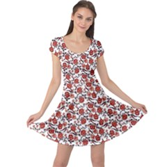 Roses pattern Cap Sleeve Dresses