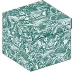 Shimmering Floral Damask, Teal Storage Stool 12