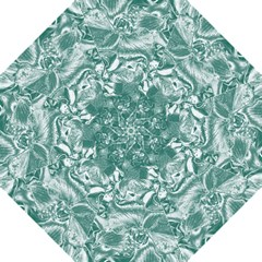 Shimmering Floral Damask, Teal Hook Handle Umbrellas (Medium)
