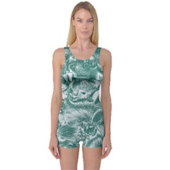 Shimmering Floral Damask, Teal One Piece Boyleg Swimsuit