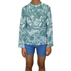 Shimmering Floral Damask, Teal Kids  Long Sleeve Swimwear