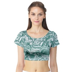 Shimmering Floral Damask, Teal Short Sleeve Crop Top (Tight Fit)