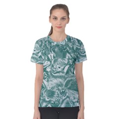 Shimmering Floral Damask, Teal Women s Cotton Tee