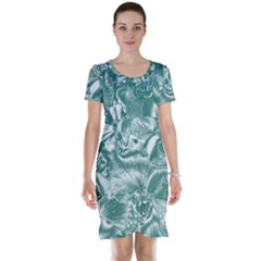 Shimmering Floral Damask, Teal Short Sleeve Nightdress