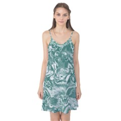 Shimmering Floral Damask, Teal Camis Nightgown