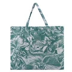 Shimmering Floral Damask, Teal Zipper Large Tote Bag
