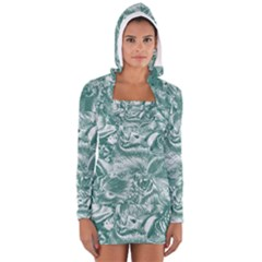 Shimmering Floral Damask, Teal Women s Long Sleeve Hooded T-shirt
