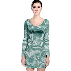 Shimmering Floral Damask, Teal Long Sleeve Velvet Bodycon Dress
