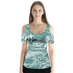 Shimmering Floral Damask, Teal Butterfly Sleeve Cutout Tee