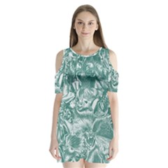 Shimmering Floral Damask, Teal Shoulder Cutout Velvet  One Piece