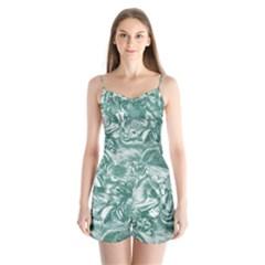 Shimmering Floral Damask, Teal Satin Pajamas Set