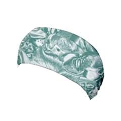 Shimmering Floral Damask, Teal Yoga Headband