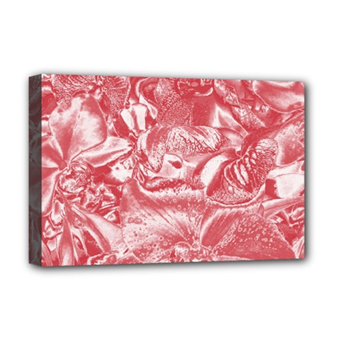 Shimmering Floral Damask Pink Deluxe Canvas 18  x 12