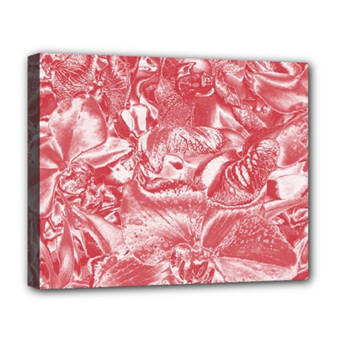 Shimmering Floral Damask Pink Deluxe Canvas 20  x 16