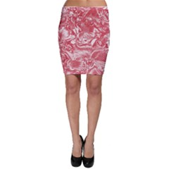 Shimmering Floral Damask Pink Bodycon Skirt