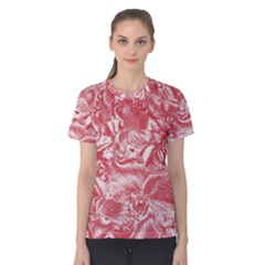 Shimmering Floral Damask Pink Women s Cotton Tee