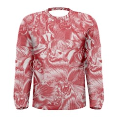 Shimmering Floral Damask Pink Men s Long Sleeve Tee